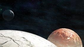 Πετώντας μέσω των τομέων αστεριών στο διάστημα κοντά τους όμορφους πλανήτες με asteroids φιλμ μικρού μήκους