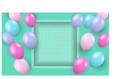 Πετώντας μπαλόνια χρώματος και τρισδιάστατο πλαίσιο Στοκ Εικόνες
