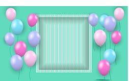 Πετώντας μπαλόνια χρώματος και τρισδιάστατο πλαίσιο Στοκ φωτογραφία με δικαίωμα ελεύθερης χρήσης