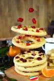 Πετώντας μπισκότα κουλουρακιών που διαμορφώνονται ως δαχτυλίδια που διακοσμούνται με τα ξηρά κεράσια και τα καρύδια Στοκ φωτογραφία με δικαίωμα ελεύθερης χρήσης