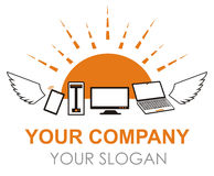 Πετώντας λογότυπο υπολογιστών και συσκευών στο διάνυσμα Στοκ εικόνα με δικαίωμα ελεύθερης χρήσης