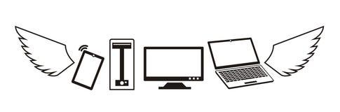Πετώντας λογότυπο υπολογιστών και συσκευών στο διάνυσμα Στοκ Φωτογραφίες