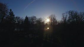 Πετώντας πέρα από το πάρκο Buen Retiro στη Μαδρίτη, Ισπανία Χειμερινή άποψη με το λάμποντας ήλιο απόθεμα βίντεο