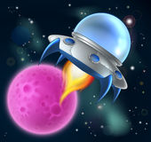 Πετώντας πιατάκι διαστημικών σκαφών κινούμενων σχεδίων αλλοδαπό διανυσματική απεικόνιση