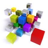 Πετώντας πολύχρωμοι μεταλλικοί κύβοι διανυσματική απεικόνιση