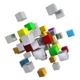 Πετώντας πολύχρωμοι μεταλλικοί κύβοι απεικόνιση αποθεμάτων