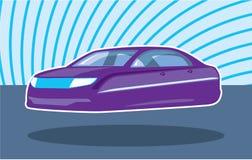 Πετώντας πορφυρό αυτοκίνητο ελεύθερη απεικόνιση δικαιώματος