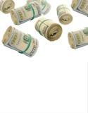Πετώντας ρόλοι εκατό του δολαρίου Bill αφηρημένα χρήματα ανασκόπησης Στοκ Φωτογραφίες