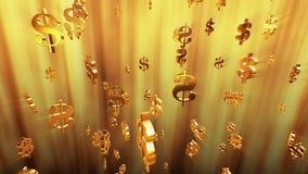 Πετώντας σημάδια δολαρίων στο χρυσό χρώμα ελεύθερη απεικόνιση δικαιώματος
