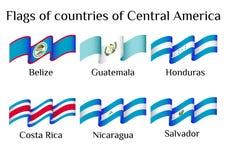 Πετώντας σημαίες των χωρών της Κεντρικής Αμερικής στα κύματα διανυσματική απεικόνιση