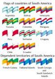 Πετώντας σημαίες των χωρών της Νότιας Αμερικής στα κύματα διανυσματική απεικόνιση