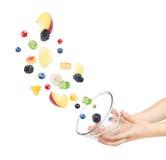 Πετώντας συστατικά για τη σαλάτα φρούτων με τα φρούτα όπως τα μήλα, Οράν στοκ εικόνες
