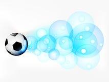 Πετώντας σφαίρα ποδοσφαίρου με τον αφηρημένο βλαστό φυσαλίδων ελεύθερη απεικόνιση δικαιώματος