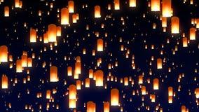 Πετώντας φανάρια ουρανού στο νυχτερινό ουρανό φιλμ μικρού μήκους
