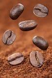 Πετώντας φασόλια επίγειου καφέ Στοκ Εικόνες