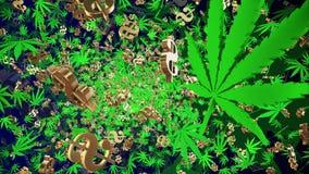 Πετώντας φύλλα καννάβεων και σημάδια δολαρίων ελεύθερη απεικόνιση δικαιώματος