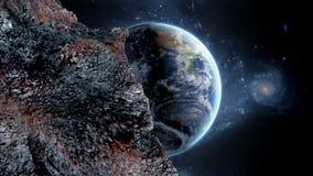 Πετώντας asteroid, μετεωρίτης στη γη περίληψη ενάντια στο θηλυκό εξωτερικό διάστημα πορτρέτου ανασκοπήσεων αρμάδων ελεύθερη απεικόνιση δικαιώματος