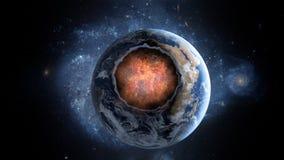 Πετώντας asteroid, μετεωρίτης στη γη περίληψη ενάντια στο θηλυκό εξωτερικό διάστημα πορτρέτου ανασκοπήσεων αρμάδων Στοκ Εικόνα
