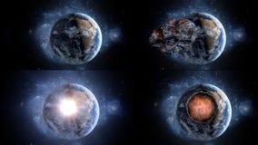 Πετώντας asteroid, μετεωρίτης στη γη περίληψη ενάντια στο θηλυκό εξωτερικό διάστημα πορτρέτου ανασκοπήσεων αρμάδων Στοκ φωτογραφία με δικαίωμα ελεύθερης χρήσης