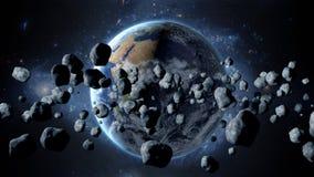 Πετώντας asteroid, μετεωρίτης στη γη περίληψη ενάντια στο θηλυκό εξωτερικό διάστημα πορτρέτου ανασκοπήσεων αρμάδων τρισδιάστατη α ελεύθερη απεικόνιση δικαιώματος