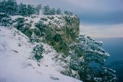 Πεύκα και βράχοι που εξισώνουν το χιονώδες χειμερινό τοπίο Στοκ φωτογραφία με δικαίωμα ελεύθερης χρήσης