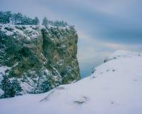 Πεύκα και βράχοι που εξισώνουν το χιονώδες χειμερινό τοπίο Στοκ Εικόνες