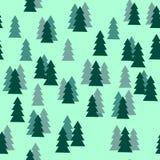 Πεύκων άνευ ραφής σχέδιο σκιαγραφιών δέντρων δασικό στο πράσινο υπόβαθρο Στοκ εικόνα με δικαίωμα ελεύθερης χρήσης