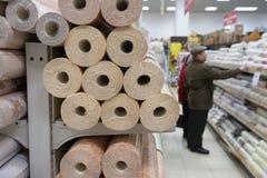Πελάτες και ράφια με τα οικοδομικά υλικά Στοκ Εικόνα