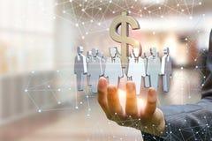 Πελάτες στόχων και το σημάδι δολαρίων στο χέρι ενός επιχειρηματία Στοκ εικόνα με δικαίωμα ελεύθερης χρήσης