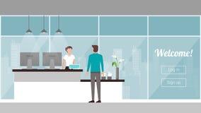 Πελάτης στην υποδοχή διανυσματική απεικόνιση