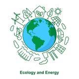 Πηγές γης και ενέργειας Οικολογική ανάπτυξη Electr έννοιας Στοκ φωτογραφία με δικαίωμα ελεύθερης χρήσης