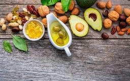 Πηγές τροφίμων επιλογής Omega 3 και ακόρεστων λιπών Superfoo Στοκ Φωτογραφίες