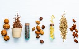 Πηγές τροφίμων επιλογής Omega 3 Έξοχα τρόφιμα υψηλή Omega 3 και Στοκ εικόνα με δικαίωμα ελεύθερης χρήσης