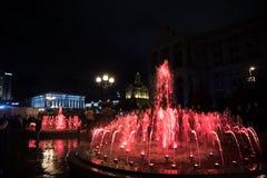 Πηγές φωτός και μουσικής σε Maidan Nezalezhnosti στο Κίεβο Στοκ Εικόνες