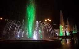 Πηγές φωτός και μουσικής σε Maidan Nezalezhnosti στο Κίεβο Στοκ φωτογραφία με δικαίωμα ελεύθερης χρήσης