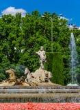 Πηγή αγαλμάτων αλόγων αρμάτων Ποσειδώνα στη Μαδρίτη Στοκ Φωτογραφίες