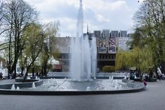 Πηγή απέναντι από τη Όπερα σε Kharkiv στοκ εικόνες