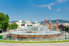 Πηγή και Plaza de Espana άποψη, Βαρκελώνη, Ισπανία Στοκ φωτογραφία με δικαίωμα ελεύθερης χρήσης