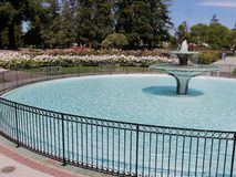 Πηγή με τη στρογγυλή λεκάνη στο Rose Garden του San Jose Στοκ Φωτογραφία