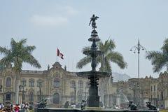 Πηγή νερού και κύριο plaza, Λίμα, Perú Στοκ Εικόνες