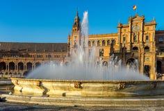 Πηγή νερού plaza de espana στη Σεβίλη, Ισπανία, Ευρώπη Στοκ Εικόνες