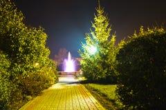 Πηγή που φωτίζεται τη νύχτα σε μια μικρή πόλη Στοκ Εικόνα