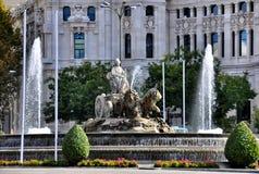 Πηγή σε Plaza Cibeles στη Μαδρίτη, Ισπανία Στοκ εικόνες με δικαίωμα ελεύθερης χρήσης