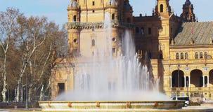 Πηγή στενή επάνω 4k Ισπανία ήλιων της Σεβίλης light plaza de espana απόθεμα βίντεο