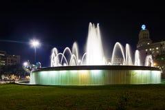 Πηγή στην Καταλωνία Plaza στη Βαρκελώνη Ισπανία Στοκ Εικόνα
