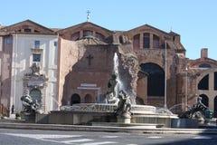 Πηγή στην πλατεία της Δημοκρατίας Ιταλία Ρώμη Στοκ Εικόνες