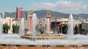 Πηγή στη Βαρκελώνη, Ισπανία απόθεμα βίντεο
