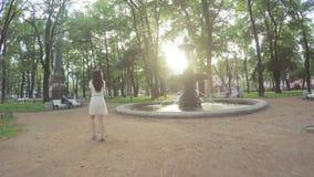 Πηγή στο ακαδημαϊκό πάρκο στη Αγία Πετρούπολη απόθεμα βίντεο