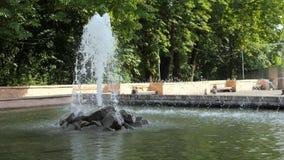 Πηγή στο πάρκο πόλεων κίνηση αργή απόθεμα βίντεο
