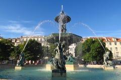 Πηγή στο τετράγωνο rossio, Λισσαβώνα στοκ εικόνα με δικαίωμα ελεύθερης χρήσης